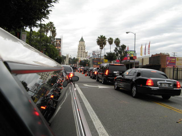 The limo line up to the Red Carpet.