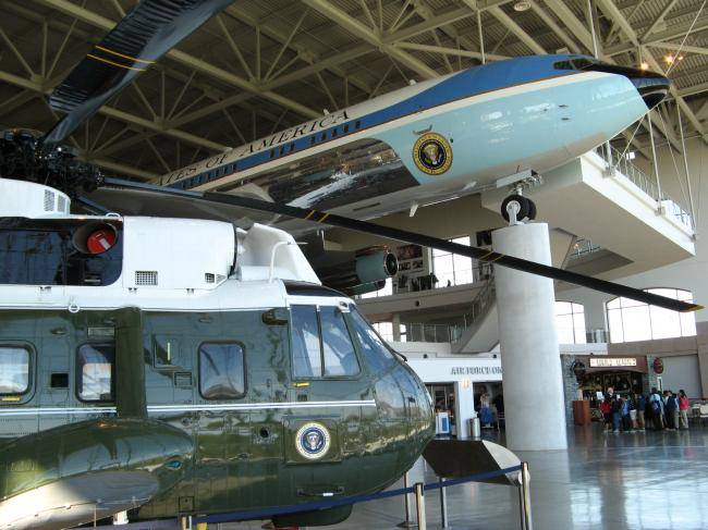 Marine 1 and Air Force One at the Reagan Library