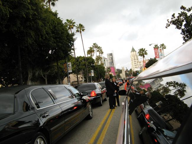 Limo's Eye View of Oscar Traffic.
